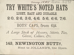 Advert for White's, milliner & clothier